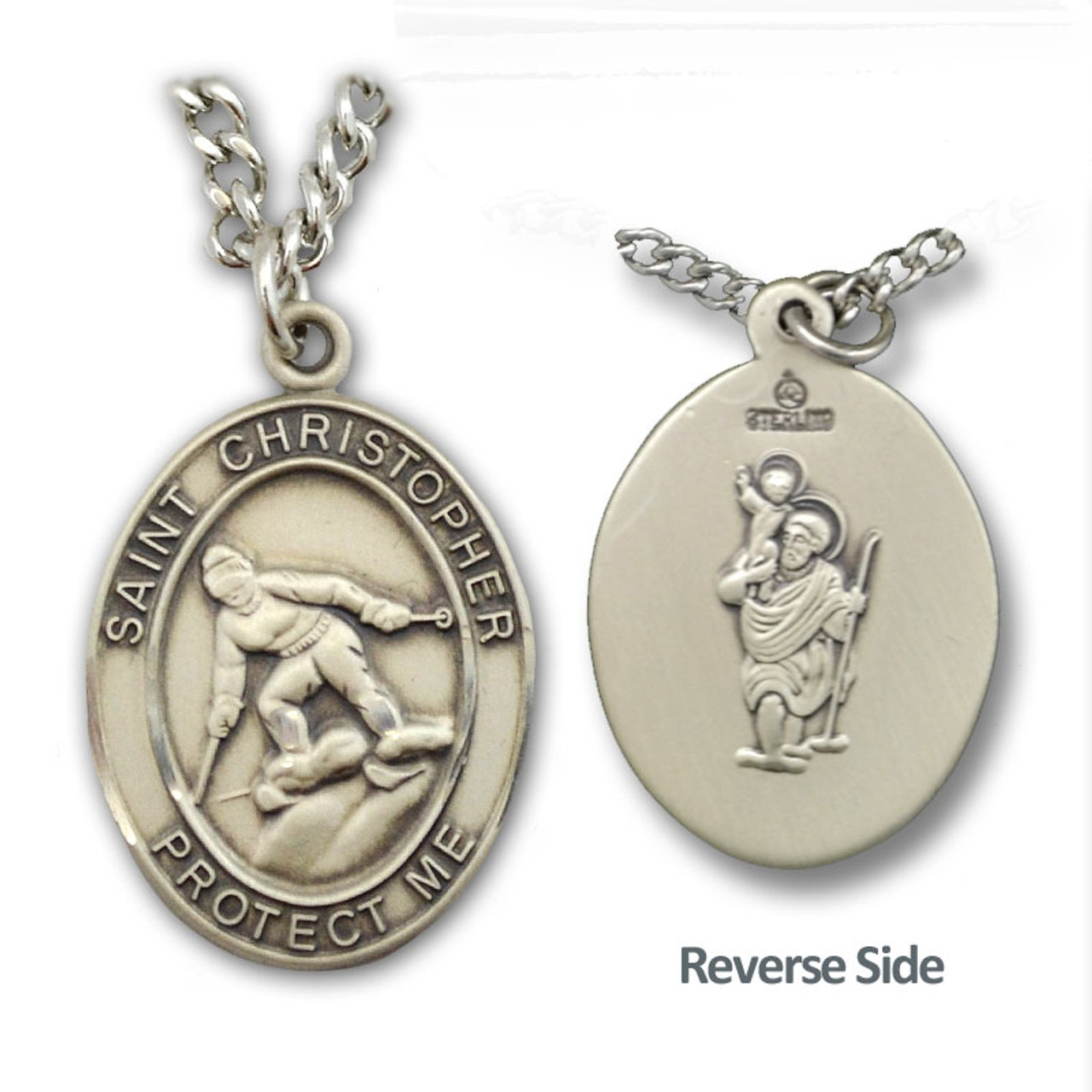 """Skiing St. Christopher Necklace Male w/24"""" Chain"""