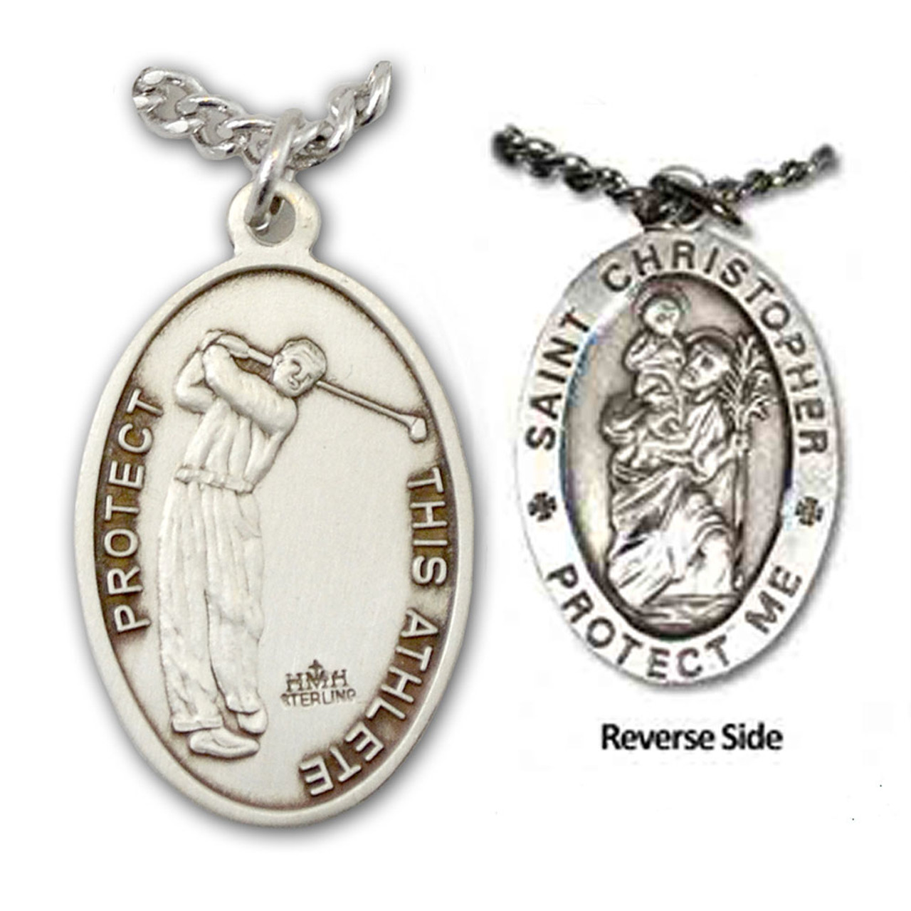 """Golf St. Christopher Medal Male w/24"""" Chain"""