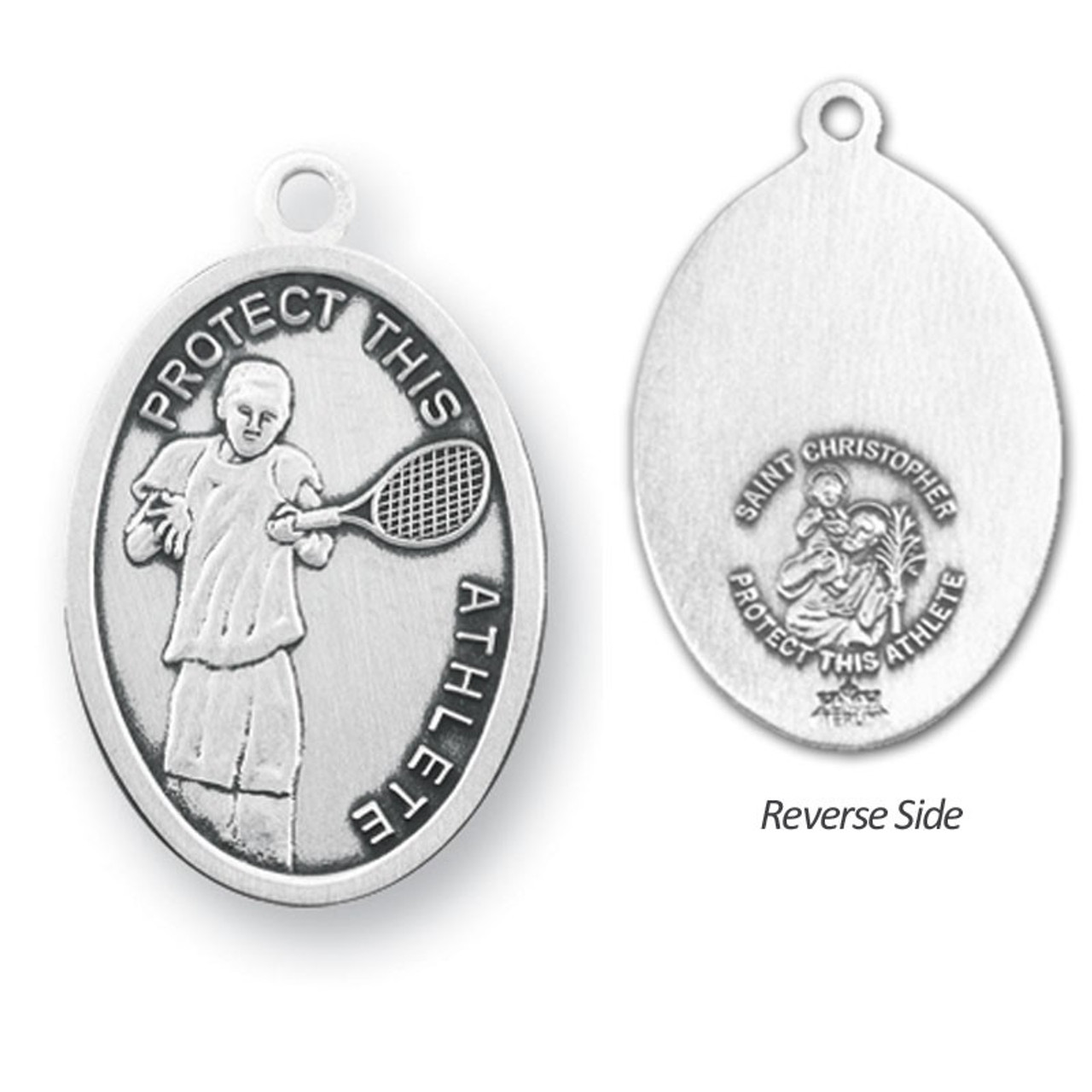 "Tennis St. Christopher Medal Male w/24"" Chain"