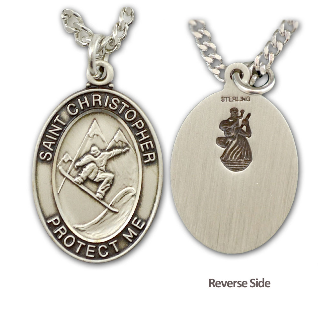"""Snowboard St. Christopher Medal Male 24"""" Chain"""