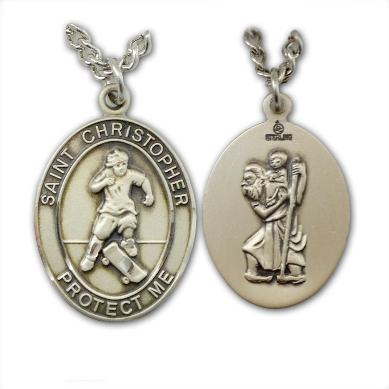 "Skateboarding St. Christopher Necklace Male 24"" Chain"
