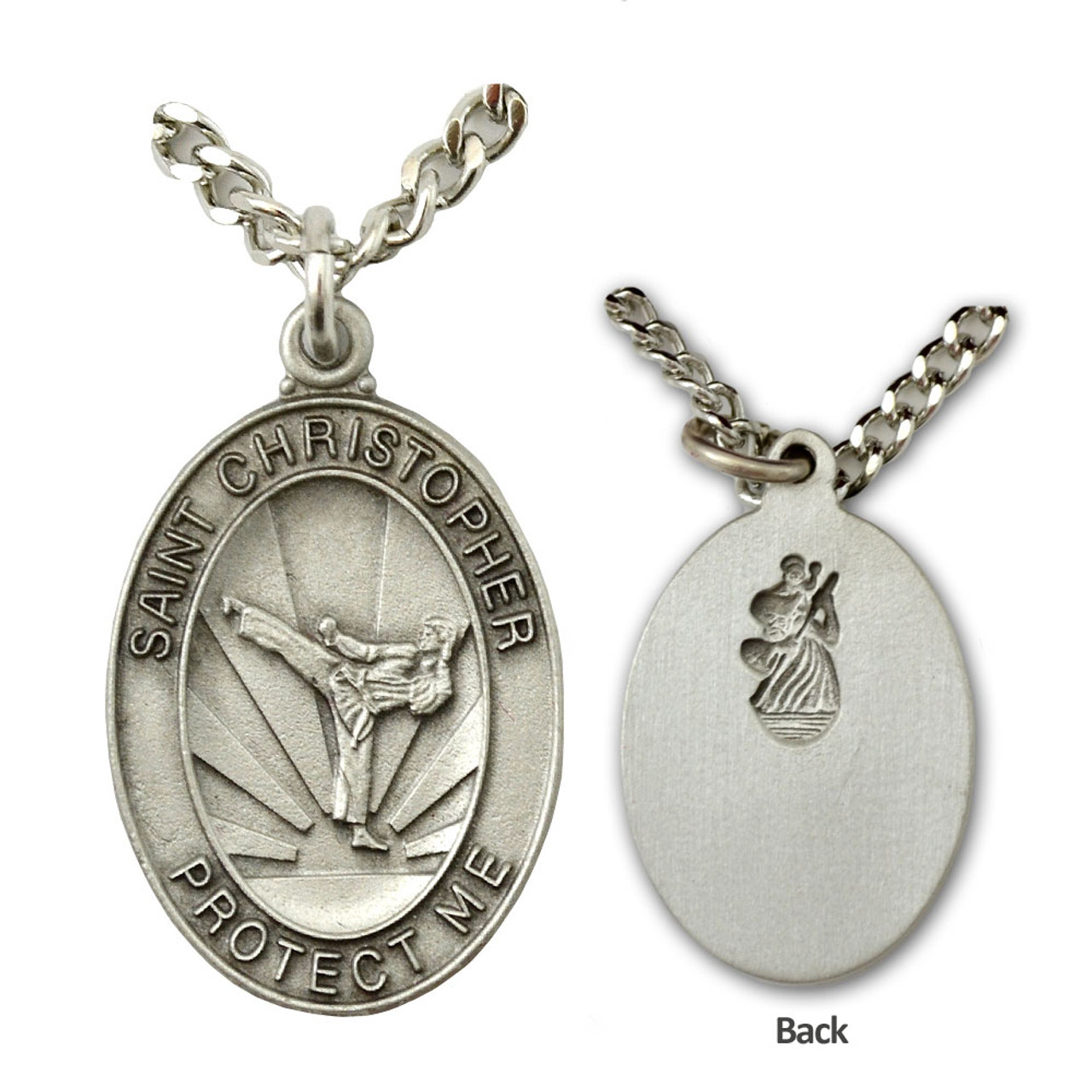 St Christopher Karate Medal Mens 24In Chain