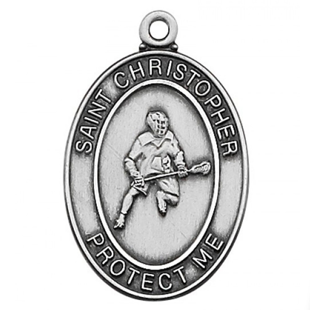 St Christopher LaCrosse Medal Boys 24IN Chain