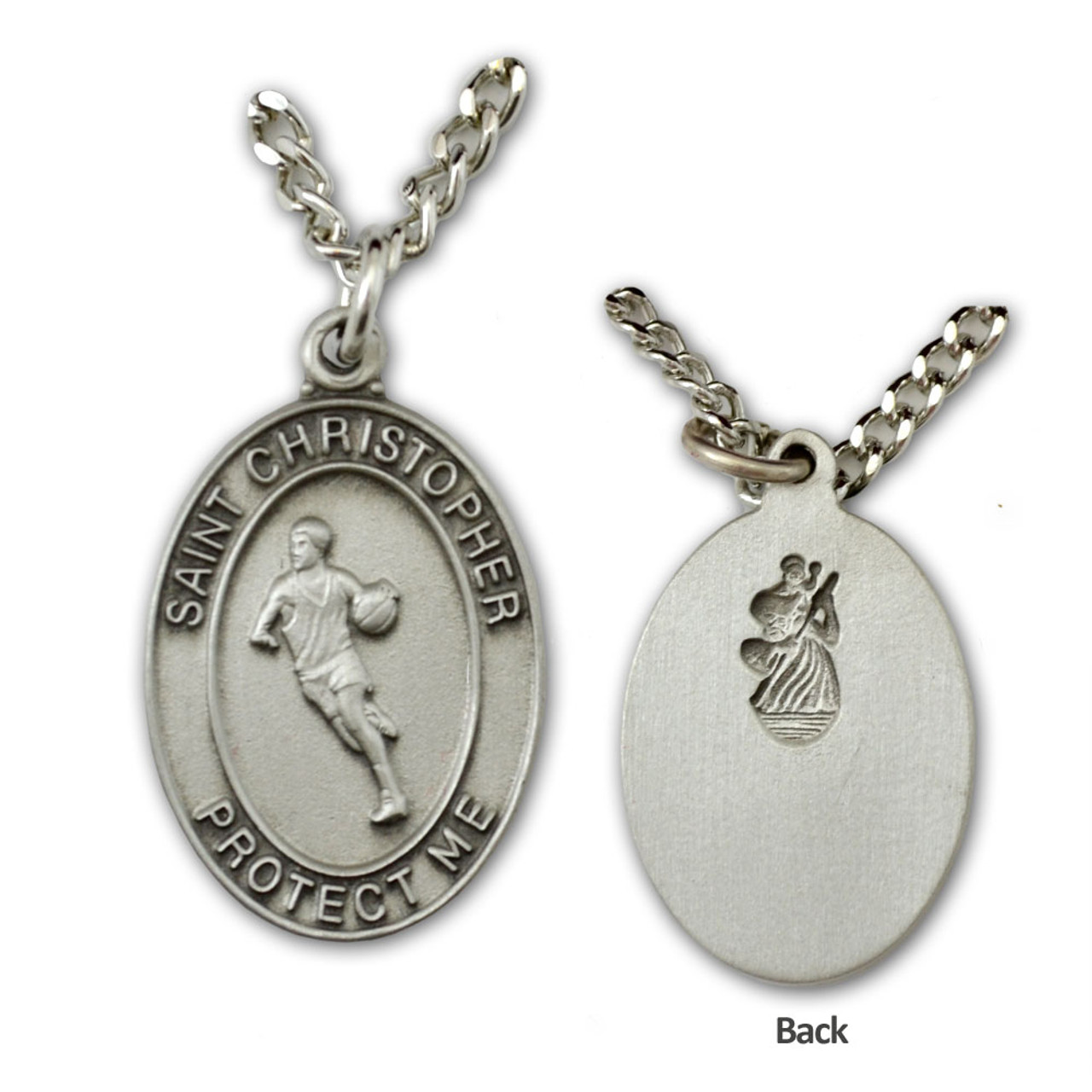 St Christopher Medal Basketball Mens 24IN Chain