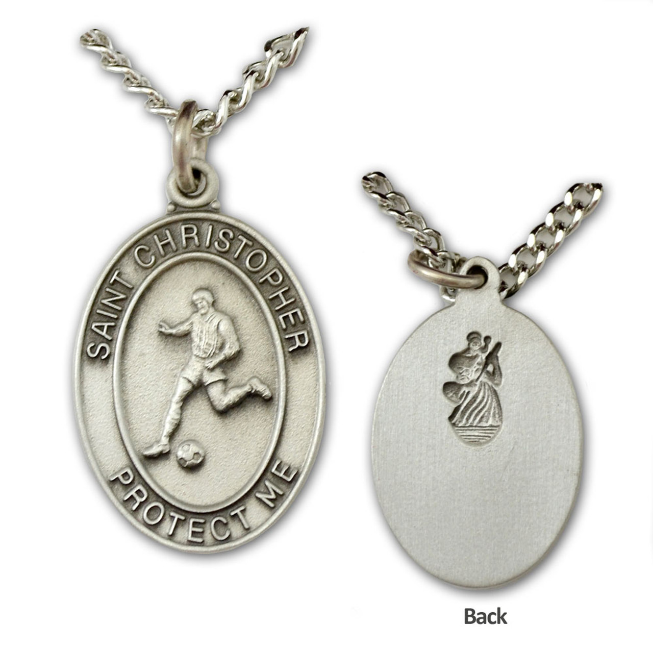 St Christopher Medal Soccer Mens 24IN Chain