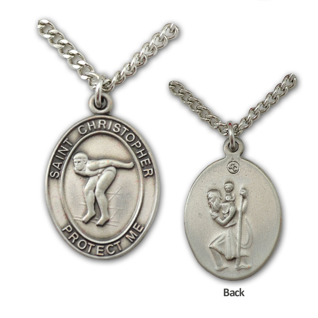 St Christopher Medal Swimming Mens 24IN Chain