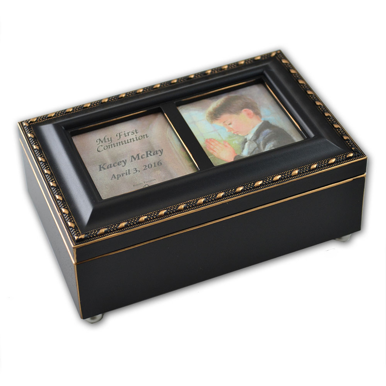 Boy's Personalized First Communion Black Music Box