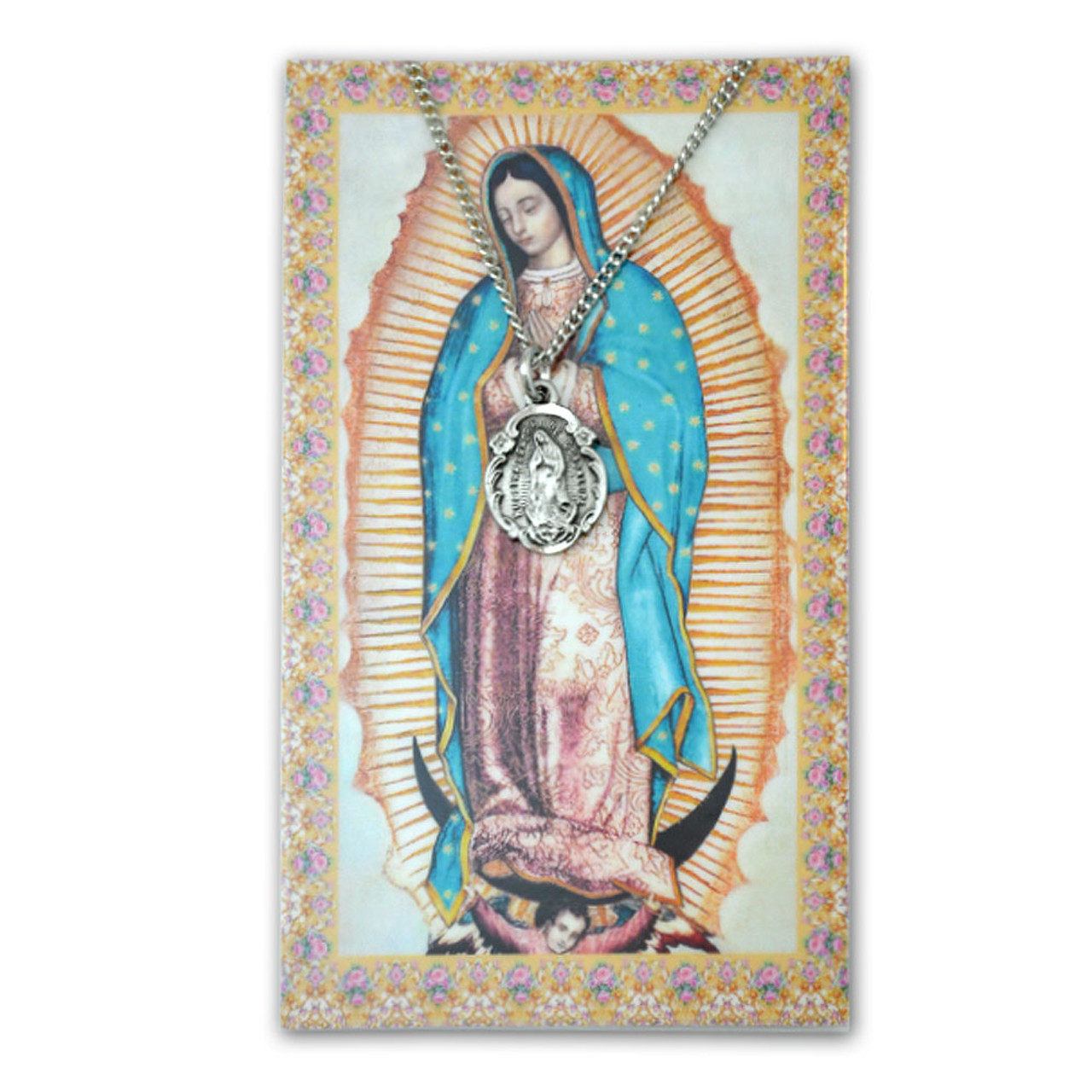 "Our Lady of Guadalupe Necklace/Card, 18"" Chain"