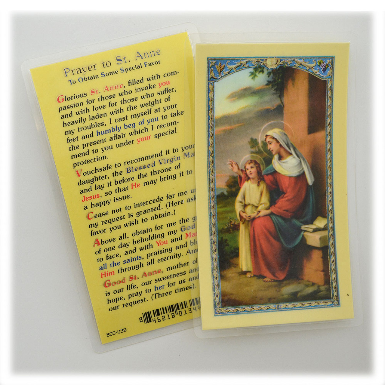 Prayer to St Anne Laminated Holy Card