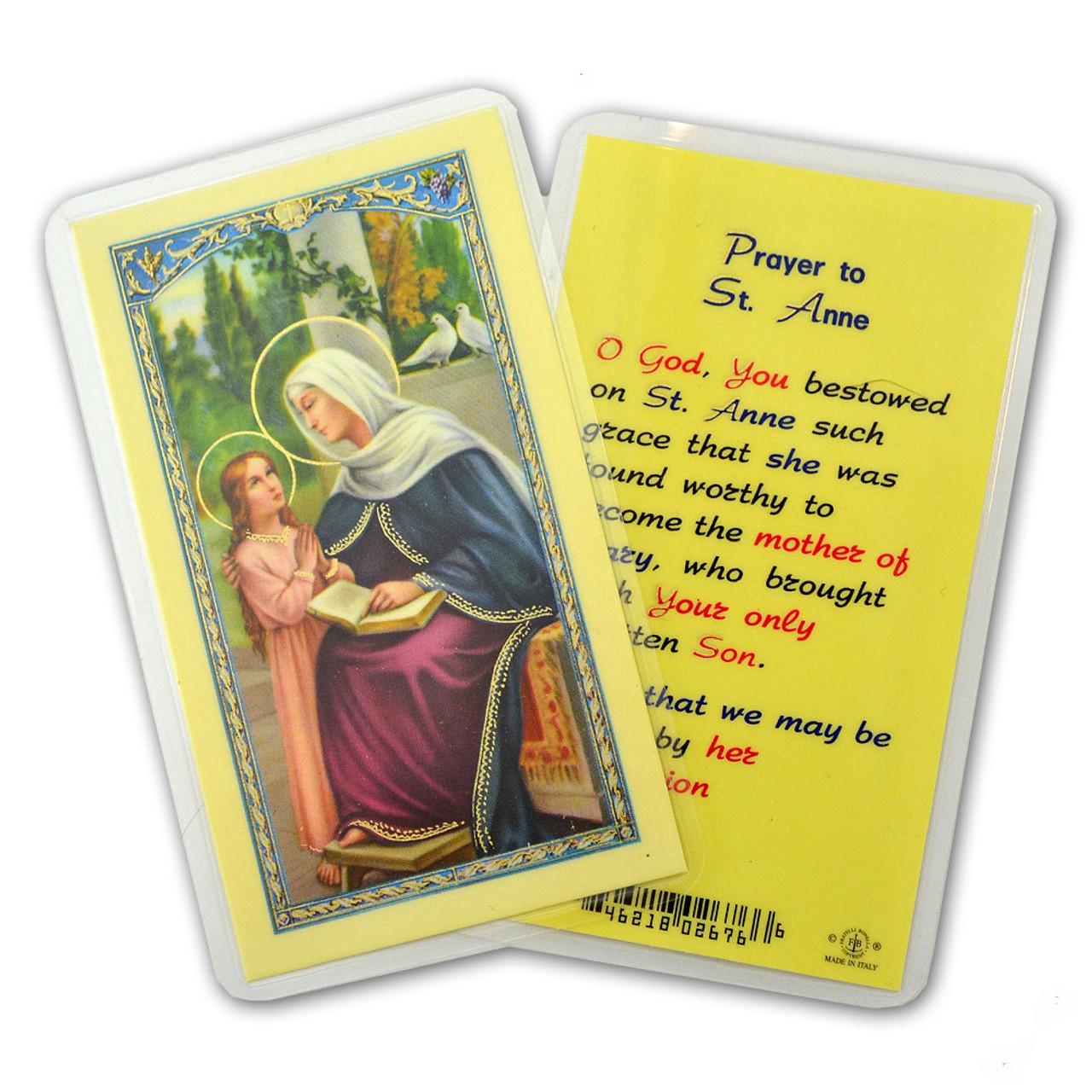St Anne Prayer Holy Card Laminated
