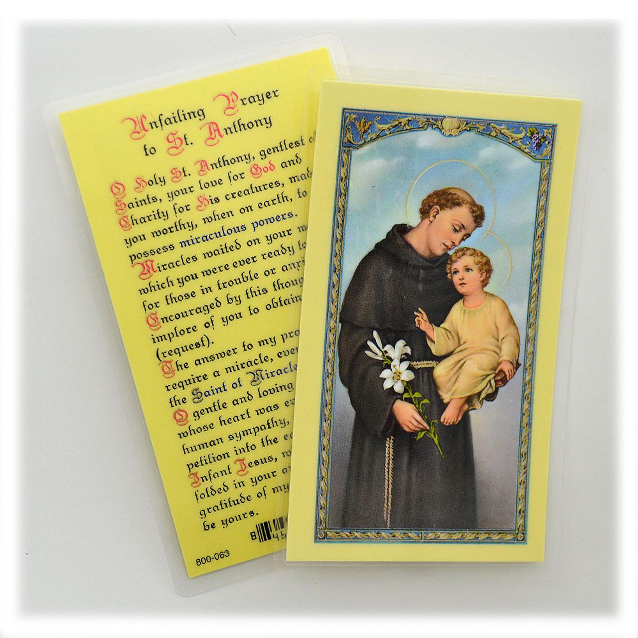 St Anthony Laminated Holy Card