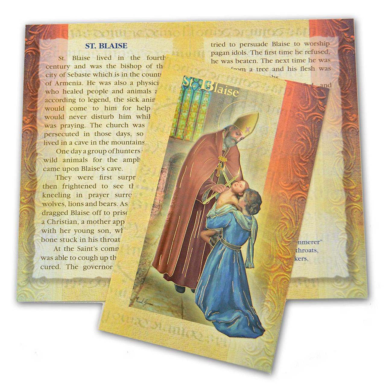 St Blaise Folded Holy Card
