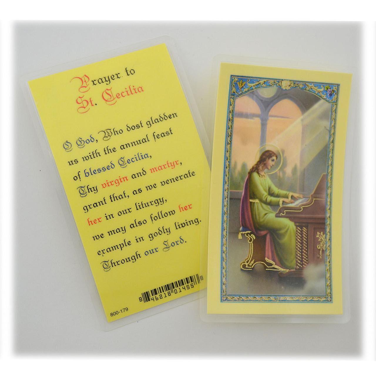 St Cecilia Prayer - Laminated Prayer Holy Card