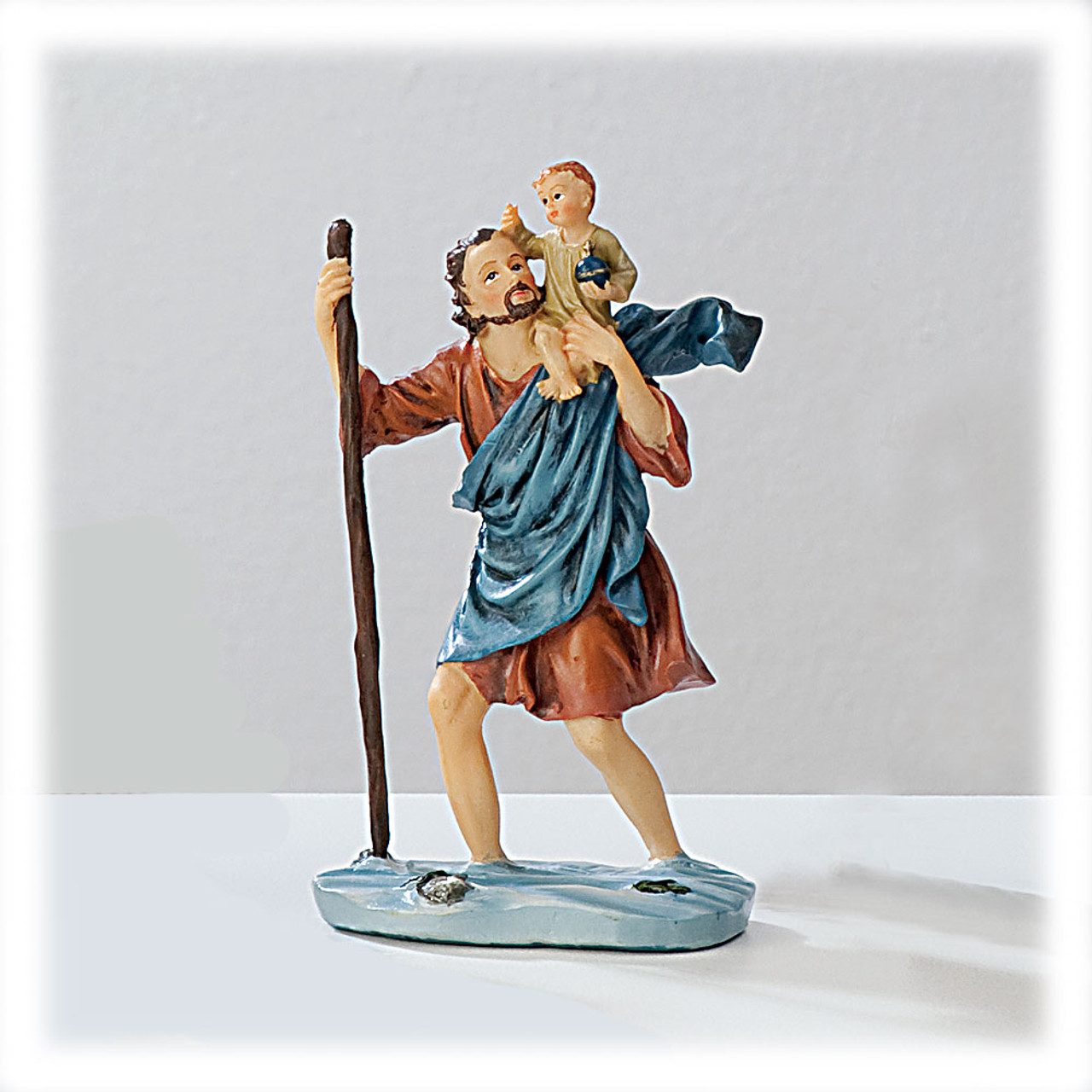 St Christopher 4 Inch Resin Statue