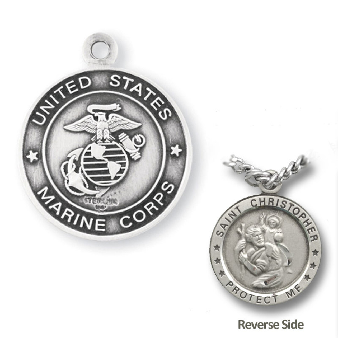 "Marine St. Christopher Medal Necklace on 24"" Chain"
