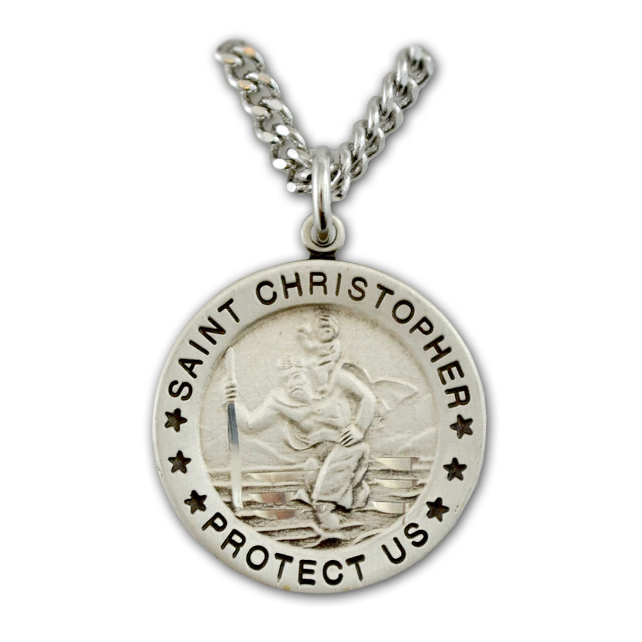 "St. Christopher Saint Medal Necklace on 24"" Chain"