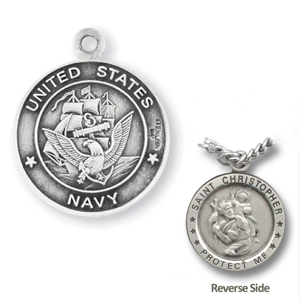 "Navy St. Christopher Medal Necklace on 24"" Chain"
