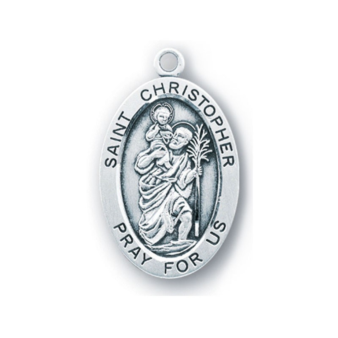 "St. Christopher Medal Large Necklace on 24"" Chain"
