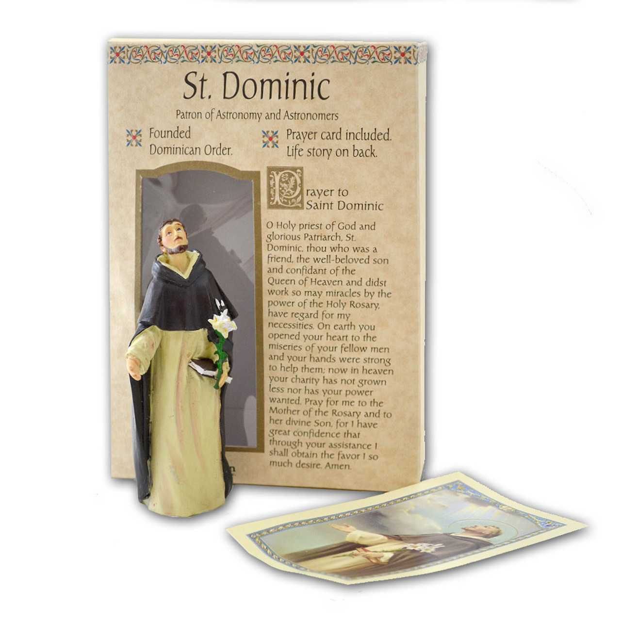 St Dominic 4 Inch Resin Statue