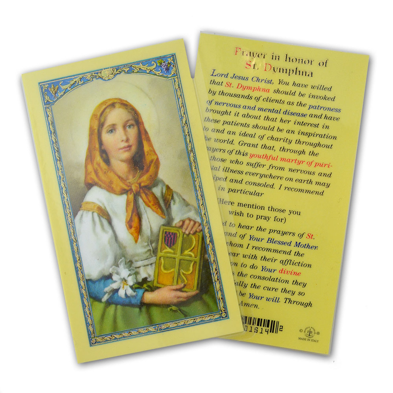 Prayer in Honor of St Dymphna Holy Card