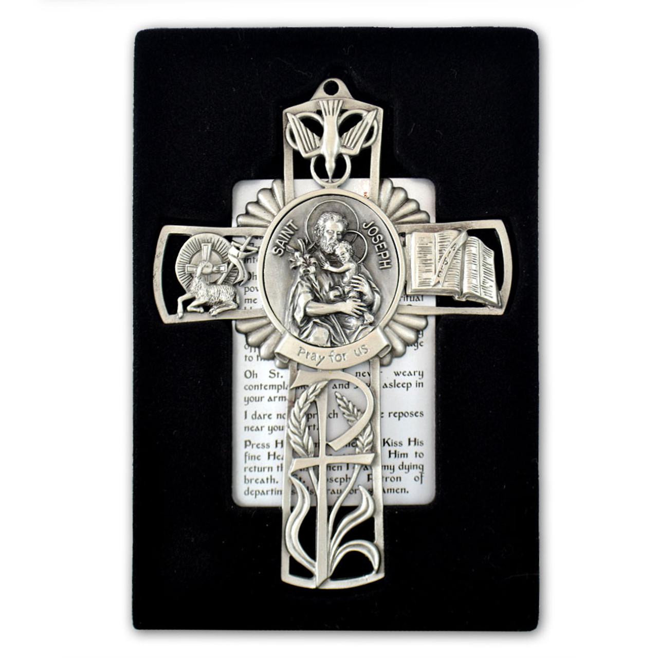St Joseph and Child Pewter Cross