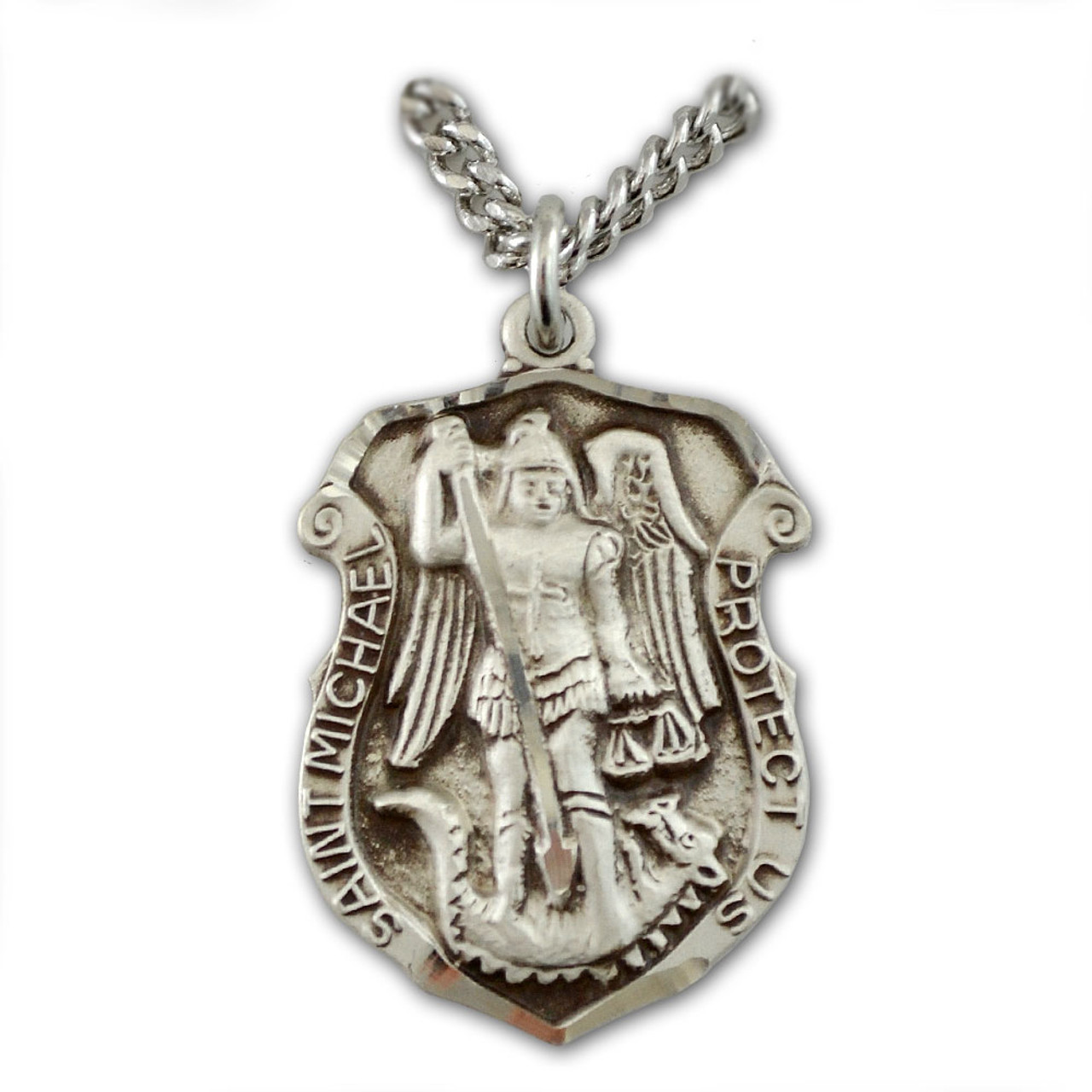 """St Michael Police Badge Medal Necklace on 24"""" Chain"""
