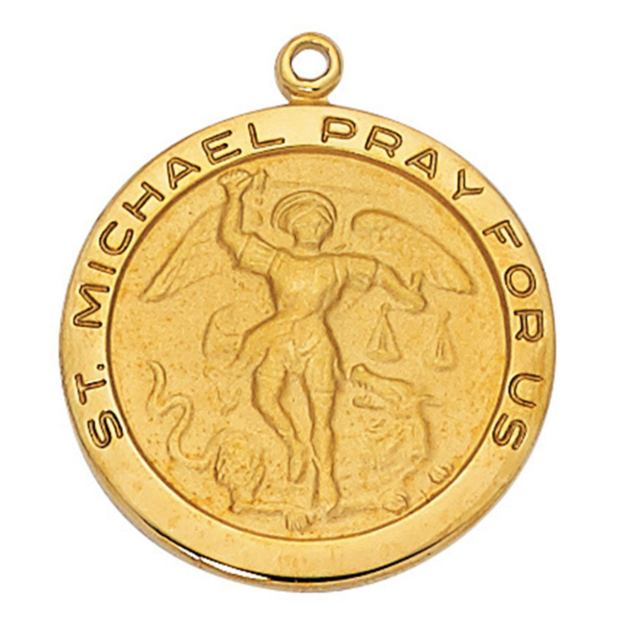 "St. Michael Saint Medal Gold Plated 24"" Chain | St. Patrick's Guild"