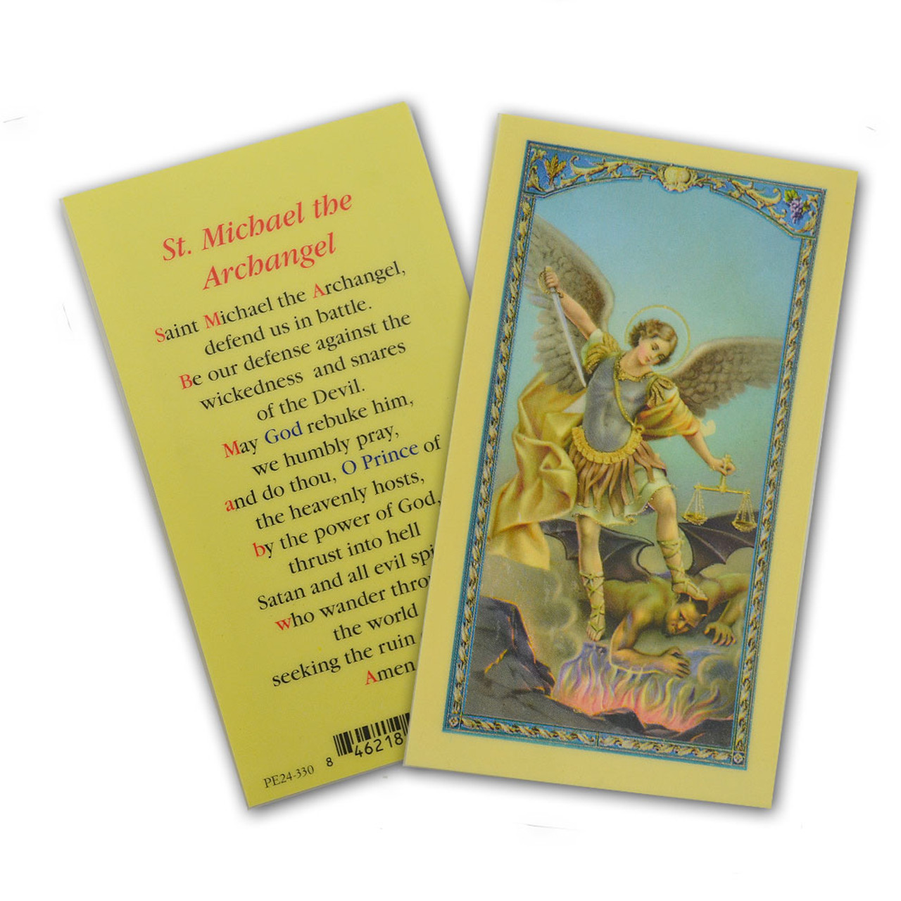 St. Michael Archangel Holy Card Laminated