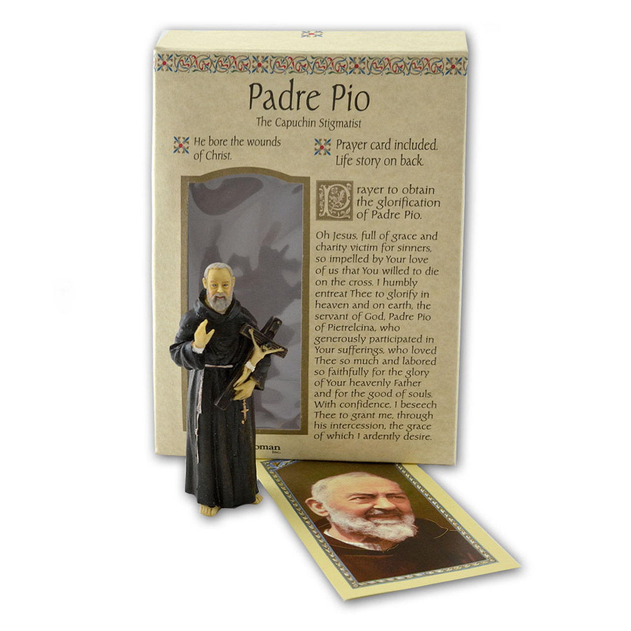 Padre Pio 4 Inch Resin Statue