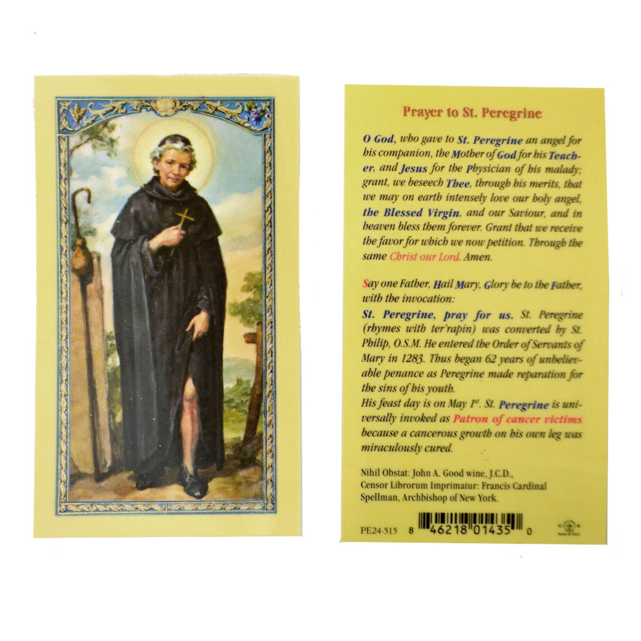 St Peregrine Prayer Holy Card Laminated