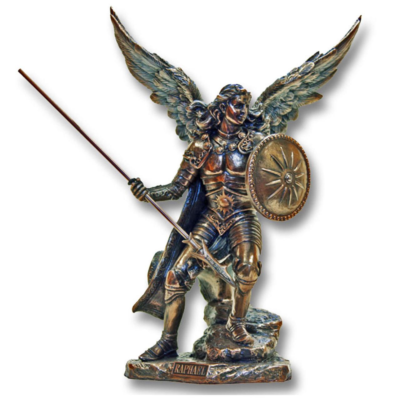 Archangel Raphael Bronze 9IN Hand Painted