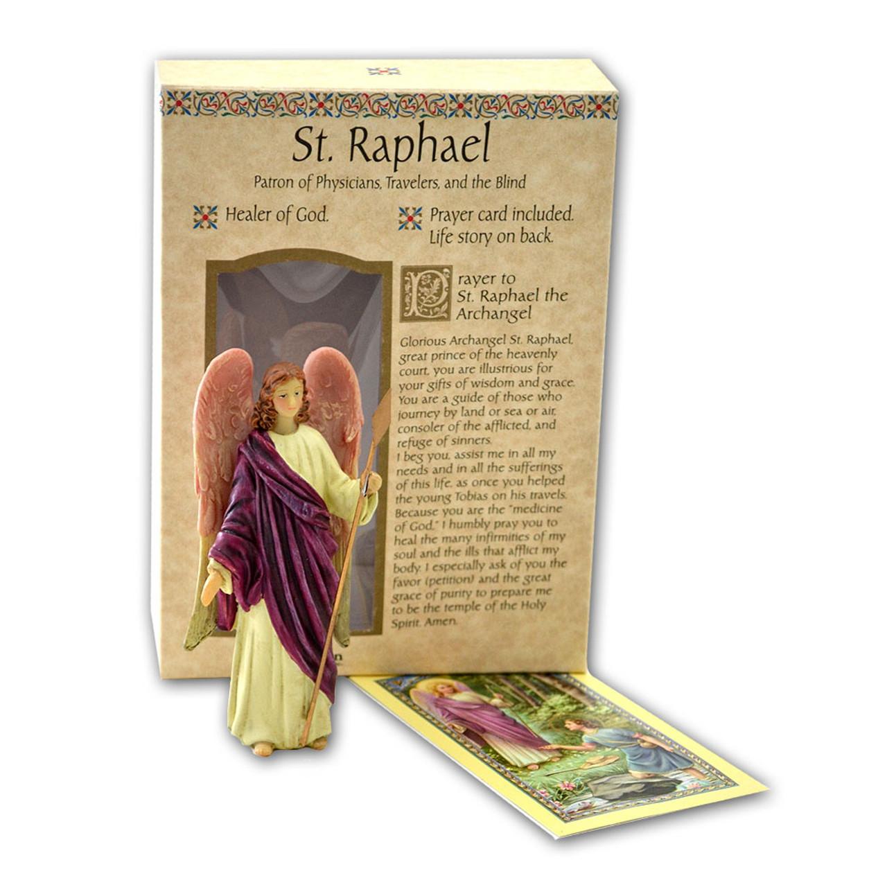 St Raphael 4 Inch Resin Statue