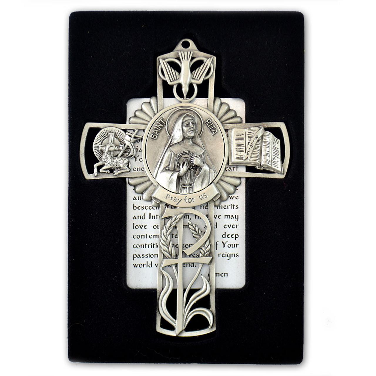St Rita Pewter Cross