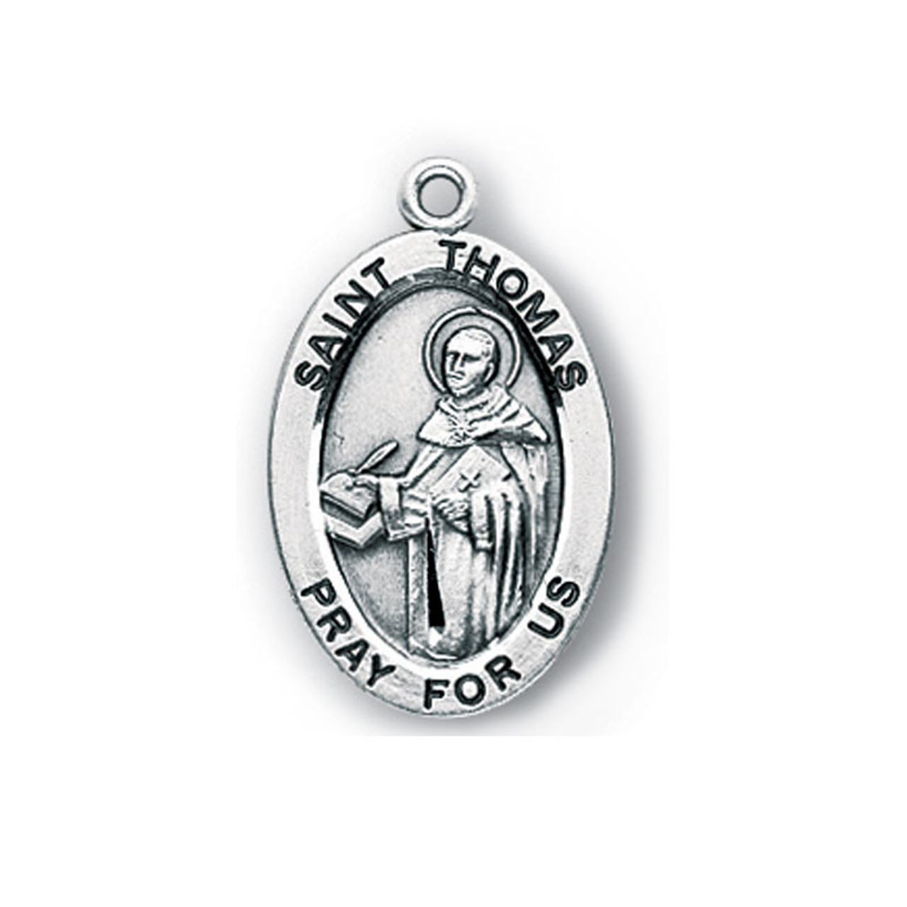 """St Thomas Aquinas Small Necklace on 20"""" Chain"""