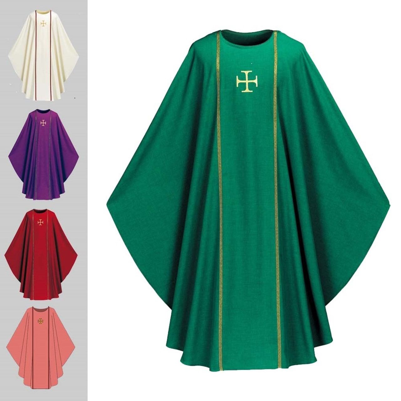 3576 Green Chasuble in Pius