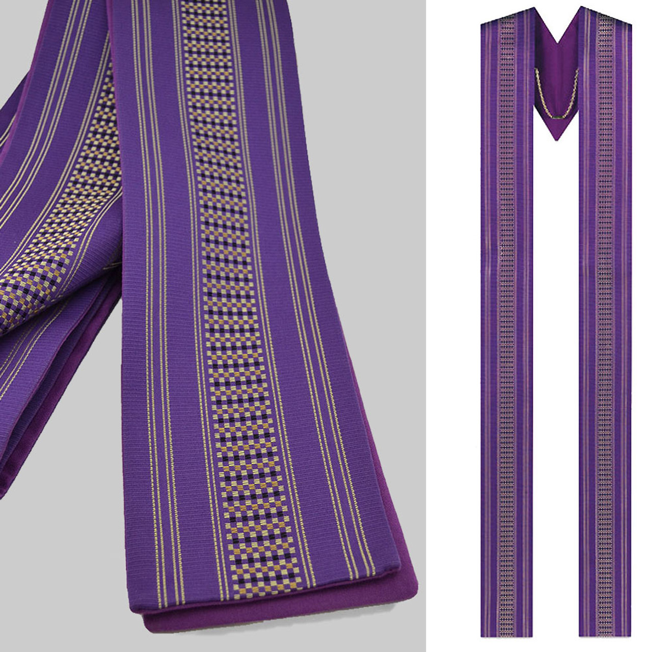 3110 Purple Overlay Stole with Capuche