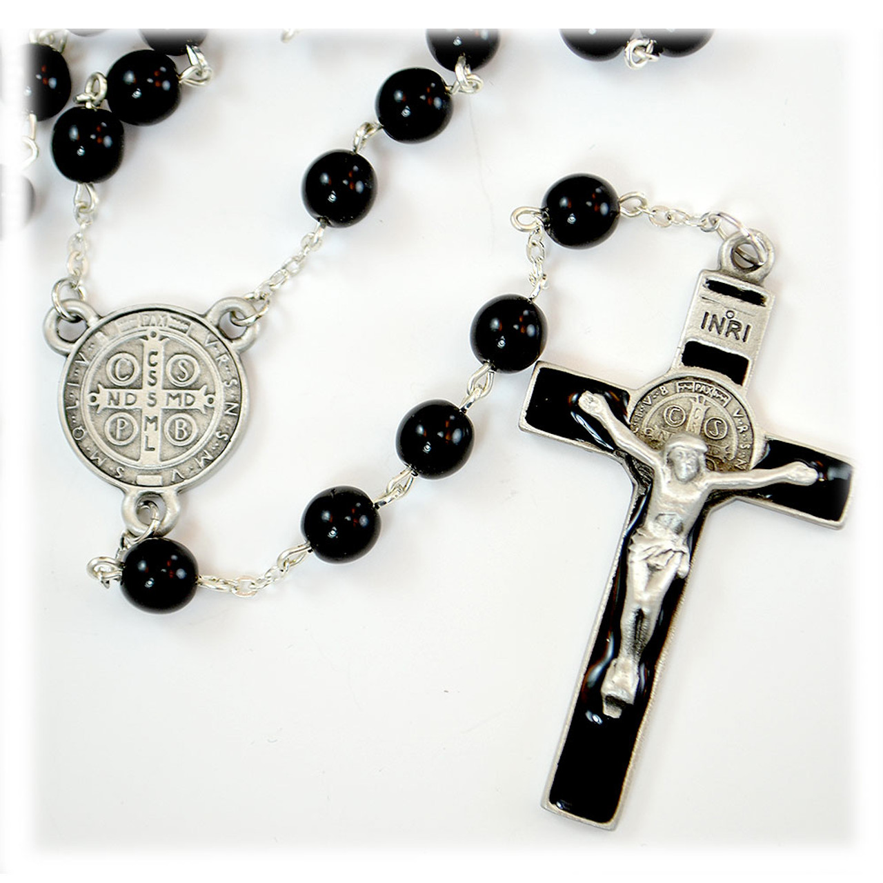 Black St. Benedict Rosary w/Deluxe Crucifix