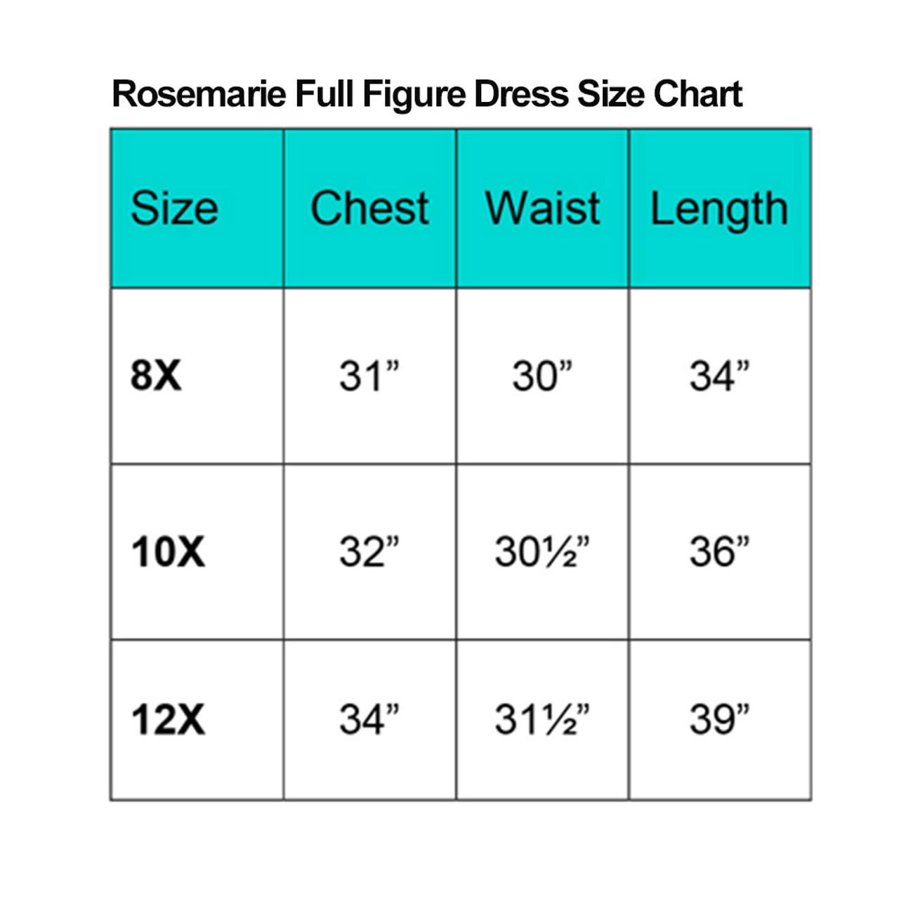 Rosemarie Communion Full Figure Size Chart