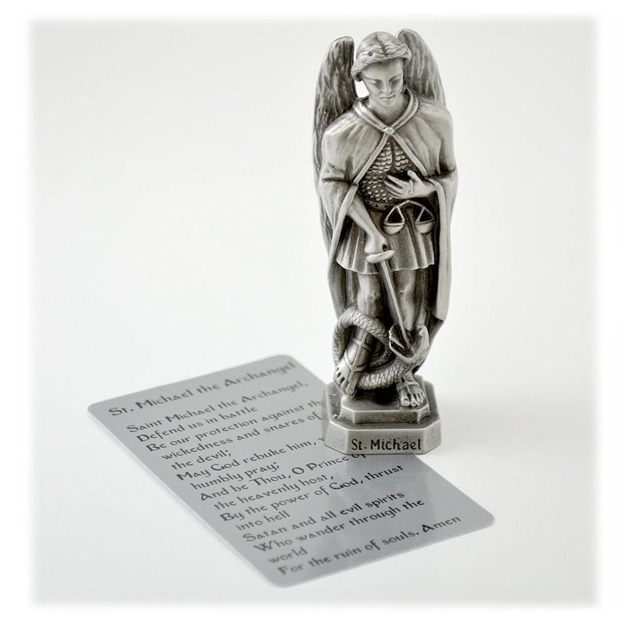 "3-1/2"" Saint Michael Archangel Statue in Pewter"