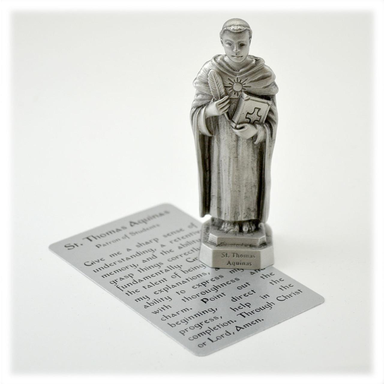 """3-1/2"""" Saint Thomas Aquinas Statue in Pewter"""