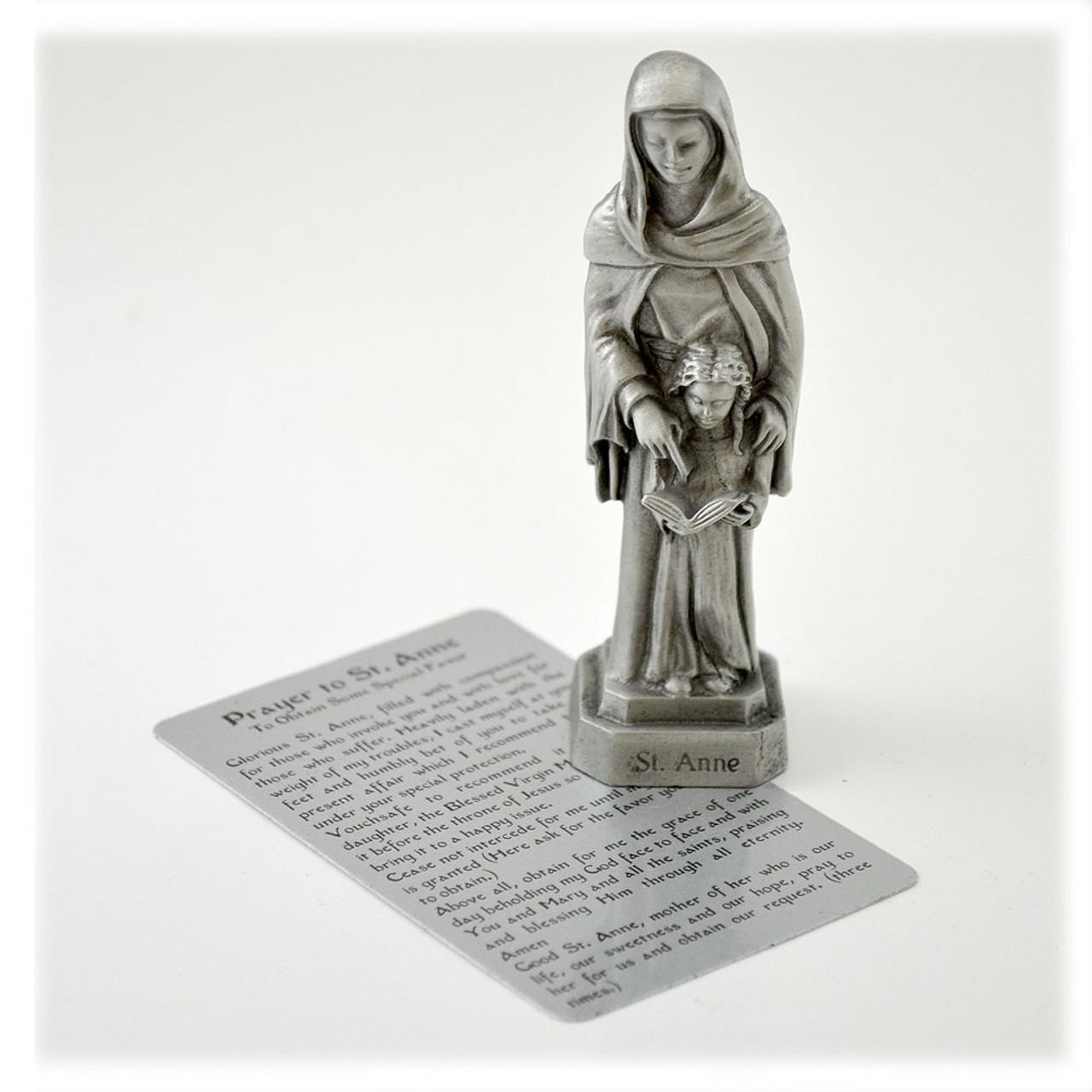 "3-1/2"" Saint Anne Statue in Pewter"