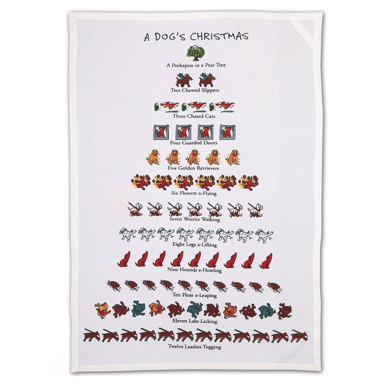 Dog 12 Days of Christmas Towel