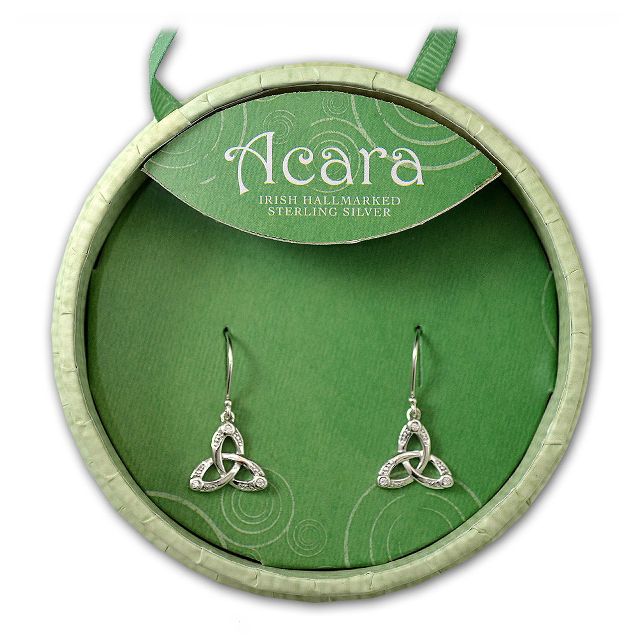 Hallmarked Trinity Knot Irish Earrings with Crystal in Sterling Silver