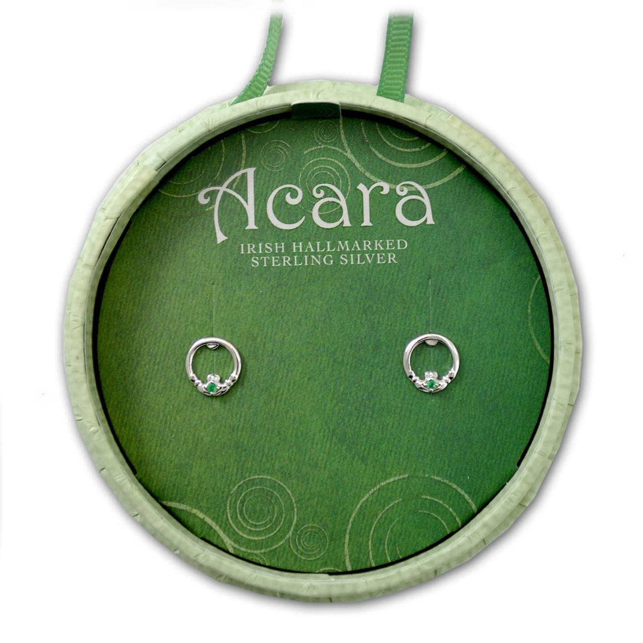Hallmarked Irish Claddagh Earrings