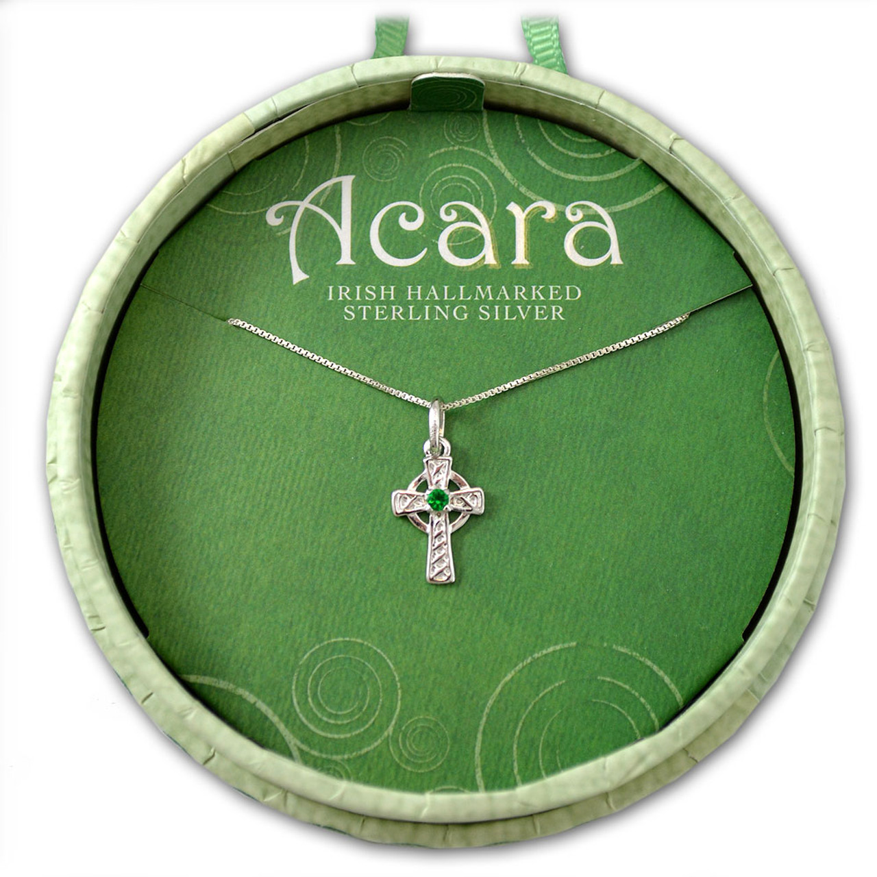 Hallmarked Sterling Silver Celtic Cross Necklace with Crystal