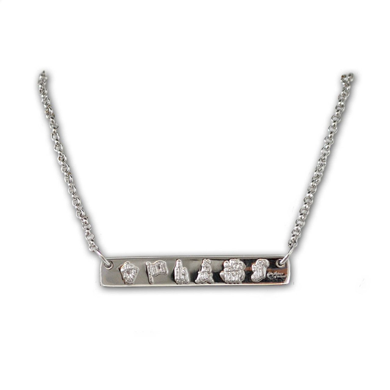 Symbols of Ireland Bar Necklace in Sterling Silver