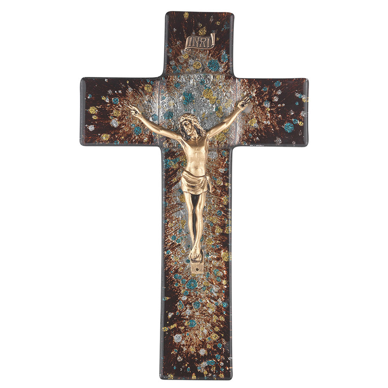 Imported Stained Glass Crucifix Brown