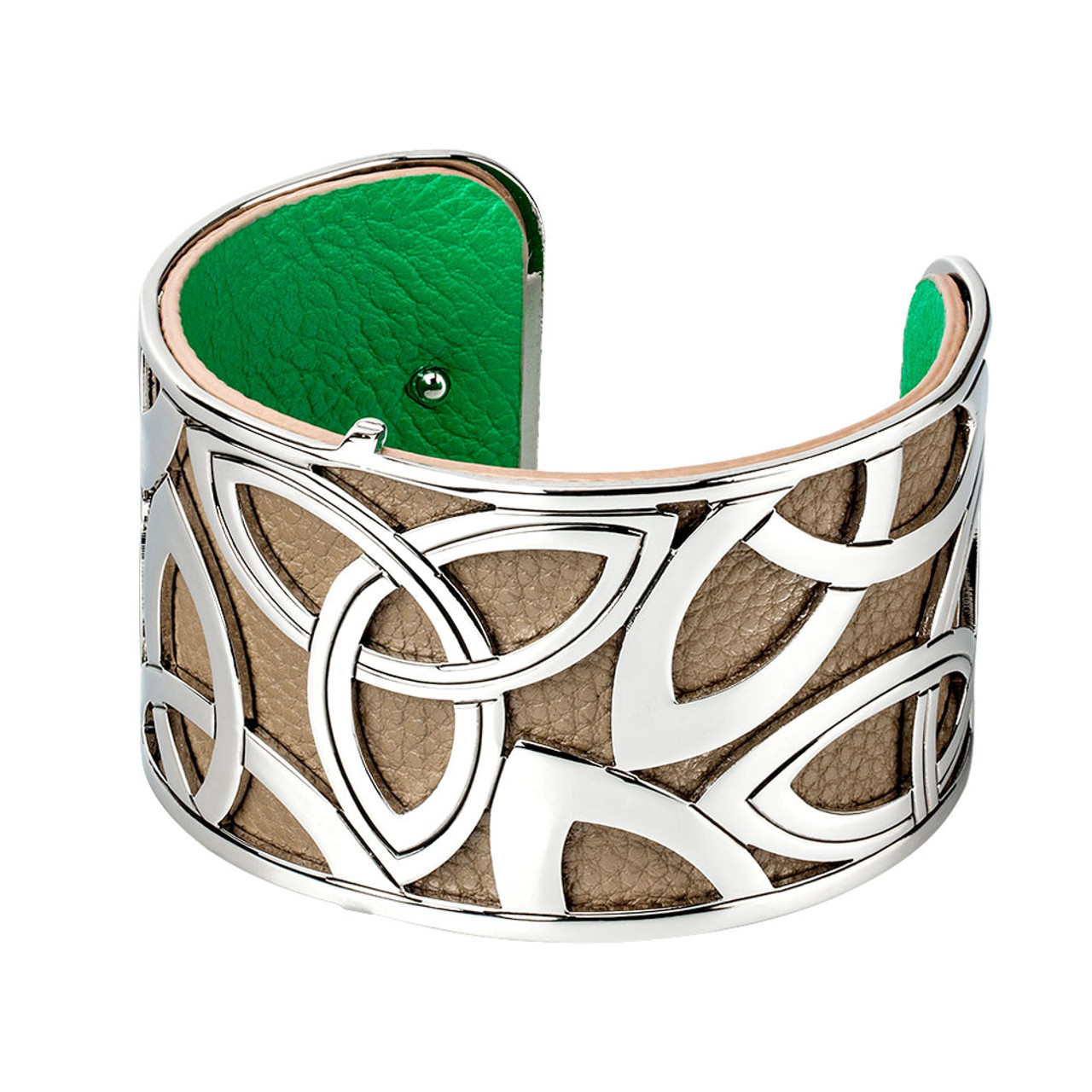 Wide Celtic Bangles with Leather Insert