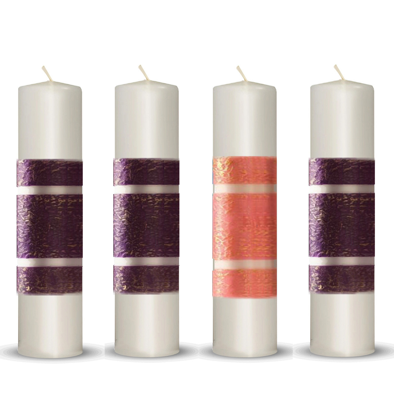 """3""""x12"""" Purple/Pink Beeswax CA Advent Candles: Set of 4"""