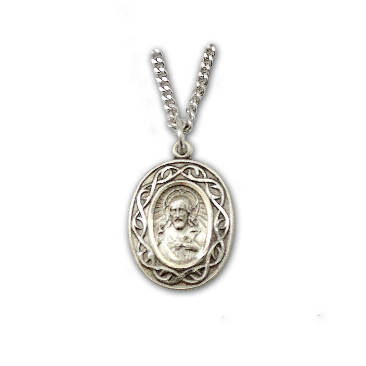 Crown of Thorns Scapular Medal 18IN Chain